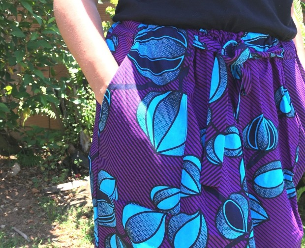 jupe bibiana skirt en wax détail poche